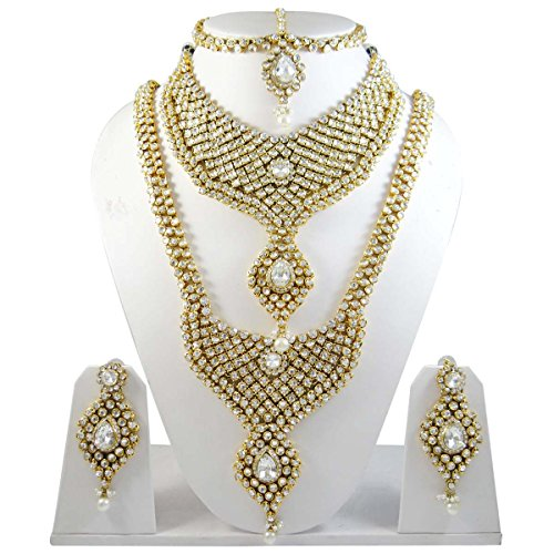 Indian Gold Plated Stones Kundan Necklace Earrings Party: Gold Plated Indian Bridal Jewellery Wedding Bridal Set