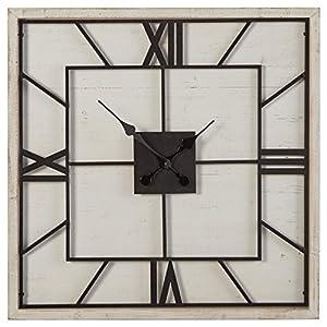 """Stone & Beam Art Deco Wood Clock, 27.8""""H, White"""