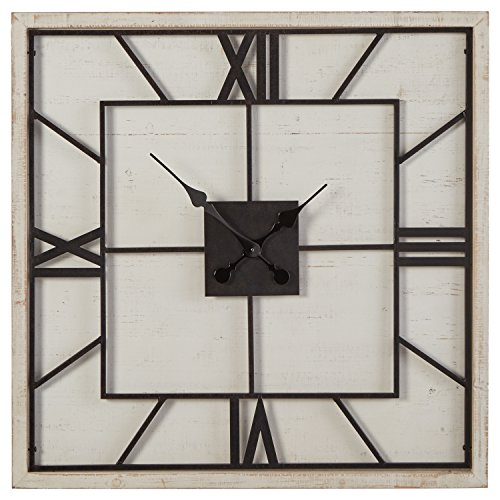 Stone & Beam Large Battery Operated Square Art Deco Wood Wall Clock - 27 Inch, White