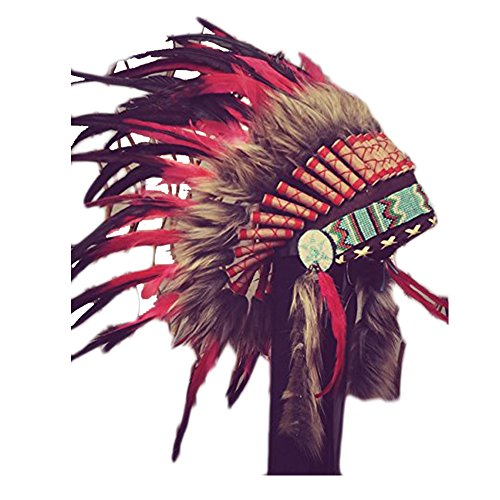 X11 Red and Black Feather Headdress / Warbonnet