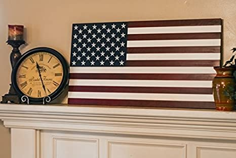 36 X 19 Large Hand Crafted 100 Made In Usa Wood American Flag Patriotic Wall Art Americana Vintage Colors