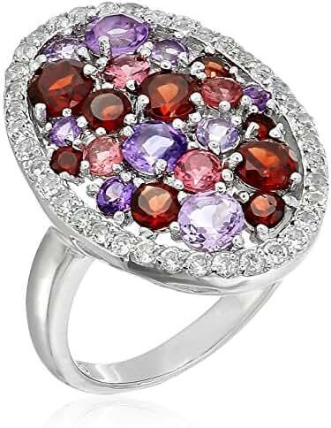 Sterling Silver Purple Multi-Gemstone Ring