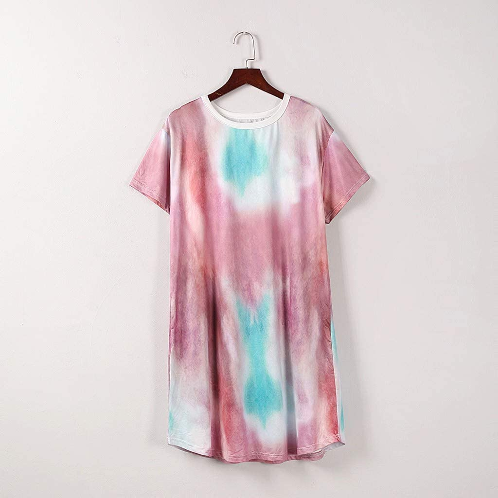 ReooLy Womens Tie-Dye Plus Size Dress Summer Casual Daisy V-Neck Short Sleeve Loose Dress