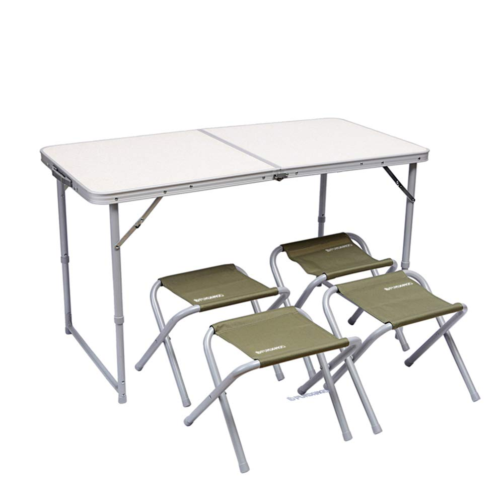 FUNDANGO Lightweight Compact Portable Outdoor Camping Picnic Folding Table and 4 Chairs Set with Handle, Adjustable Height, Aluminum, Square, White