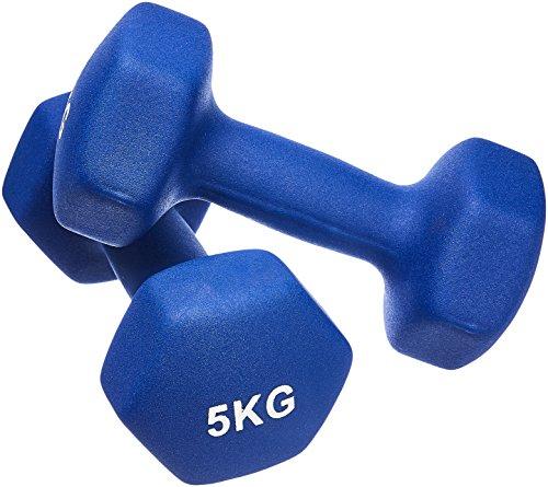 AmazonBasics - Par de mancuernas de neopreno, 2 x 5 kg, Azul ...