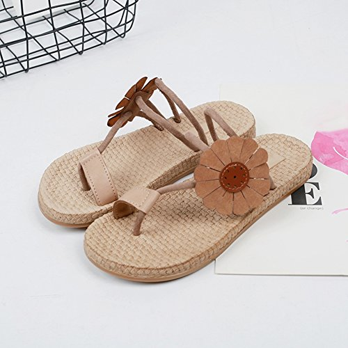 Sandali Piatti Di Ciabatta Donna Bohemian Flower Beach Slipper Shoes Size Light Brown