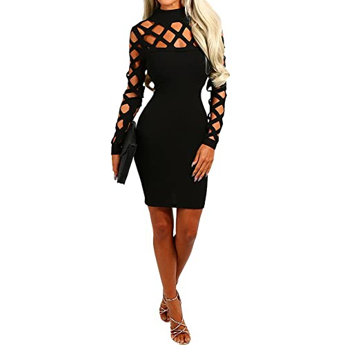Bodycon4U Women's Sexy Long Sleeve Hollow Out Cocktail Party Bandage Bodycon Dress