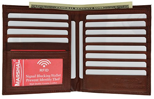 RFID Blocking Bifold Hipster Credit Card Wallet Premium Lambskin Leather (Burgundy) ()