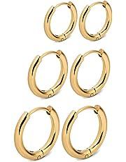 RhineYoka Hoop Earrings - 316L Stainless steel Small Endless Hoop Earrings For Women Girl Men, 3 Pairs Set of 8mm 10mm 12mm