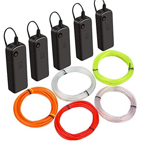 Lifegoo EL Wire Kit,Multi-Colored Neon Rope Lights (Orange,Yellow,White,Ice