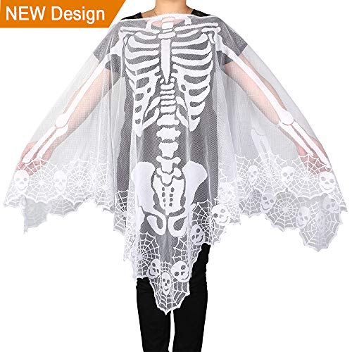 Wmbetter Lace Skeleton Poncho for Women's Halloween Skeleton Costume 60 by 60-Inch, White