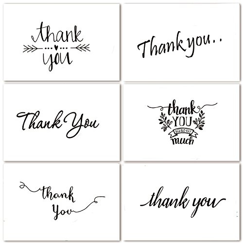 Thank You Note Cards Postcards with Funny Decor Stickers Set - 48 Assorted Bulk Pack Handwritten Greeting Cards - Blank Backside - For Wedding, Baby Shower -Brown Craft Paper Envelopes - 4 x 6 inches