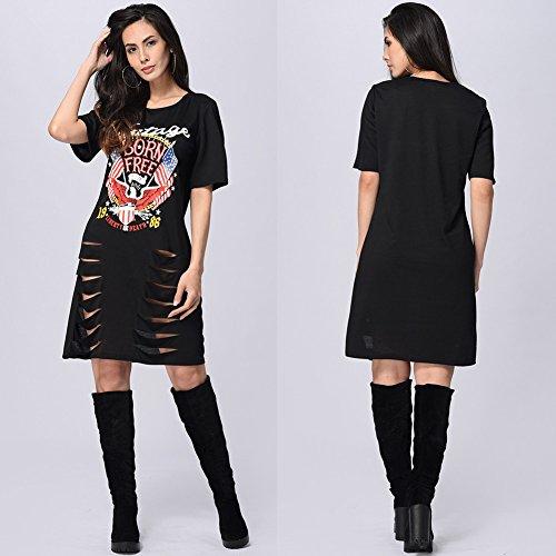 Mujeres manga corta casual suelta camiseta Mini vestidos de verano agujeros de vestir Negro