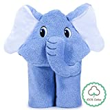 Hooded Baby Towels, Lupantte 100% Cotton Baby Bath Towel, Cute Elephant, Hooded Towel for Baby, Baby Shower Gifts for Newborn to Toddler, Ultra Soft, Absorbent, Hypoallergenic. Fits 0-3 Years (Blue)