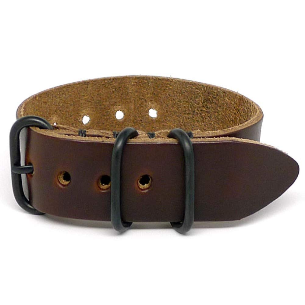 DaLuca 1 Piece Military Watch Strap - Brown Chromexcel (PVD Buckle) : 26mm