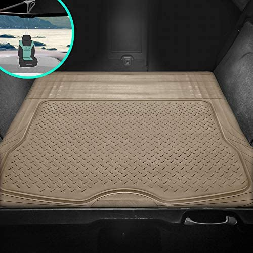FH Group F16400 Trimmable Cargo Liner- All Weather Heavy Duty, Solid Beige w. Gift- Fit Most Car, Truck, SUV, or Van