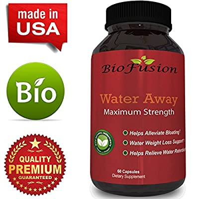 Natural Water Away Pills with Dandelion - Pure Diuretic Supplement for Water Retention + Bloating Relief - Best Weight Loss with Green Tea + Potassium - Dietary Supplement for Men & Women By Biofusion