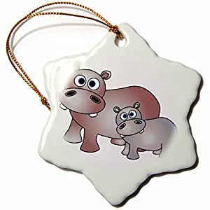 Janna Salak Designs Cute Hippos Mom and Baby Snowflake Porcelain Ornament, 3-Inch
