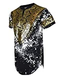 SCREENSHOTBRAND-730 Mens Hipster Hip-Hop Premium Tees - Stylish Longline Side Zipper Fashion T-Shirt Dashiki Gold Print - Black - Large