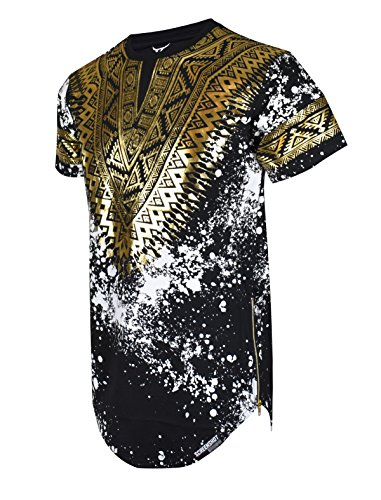 SCREENSHOTBRAND-730 Mens Hipster Hip-Hop Premium Tees - Stylish Longline Side Zipper Fashion T-Shirt Dashiki Gold Print - Black - XLarge