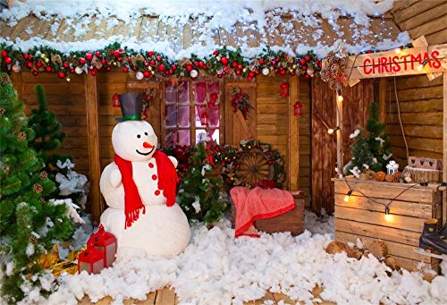 OFILA Christmas Backdrop 12x10ft Winter Snowman Photography Background Xmas Fairy Lights Cart Snowflakes Balls Christmas Party New Year Festival Celebration Family Shoots Kids Phootbooth Props ()