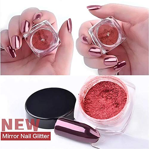 Tempea RED ROSE GOLD aurora chameleon miror effect chrome NAIL PIGMENT glitter nail art chrome MIRROR POWDER shiny nail dust holographic unicorn laser ruby red nail sequin acryilic nail dip -