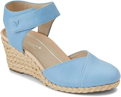Espadrille Wedges with Concealed Orthotic Arch Support Vionic Womens Aruba Coralina Slingback Wedge