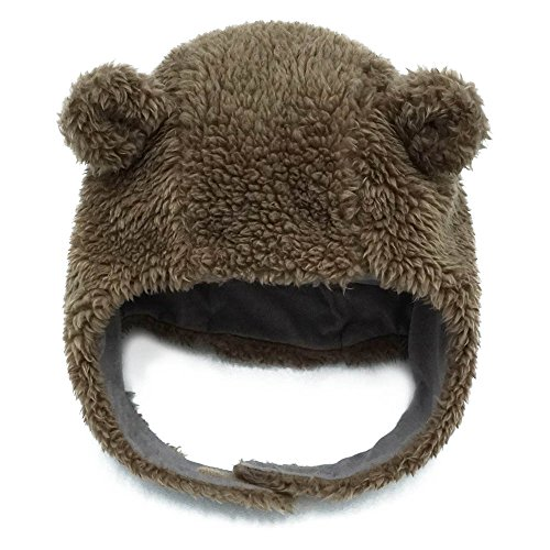 Keepersheep Ear Bomber Hats with Hook and Loop Chin Strap (6-12 Months, Coffee) ()