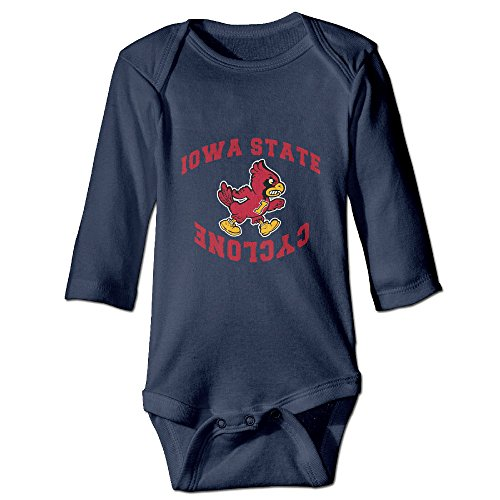Custom Iowa State Cyclones LOGO Baby Girl And Boy Climbing Cotton Long Sleeve Tee Navy [ - 12 Months