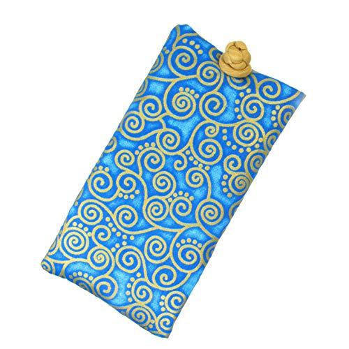 Handmade Soft Eyeglass Case (Sunglasses Pouch), Cotton & Raw Thai Silk Fabric, Turquoise (Thai Silk Turquoise)