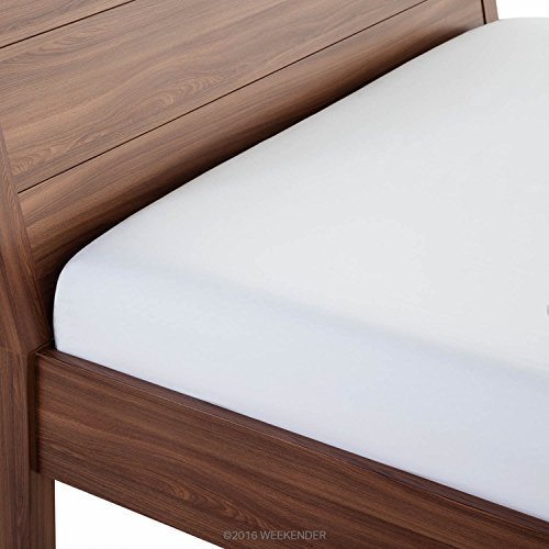 WEEKENDER 200 Thread Count Hotel Fitted Sheet - Cotton Rich Blend - White - Twin XL (Set Mattress Product Premiere)