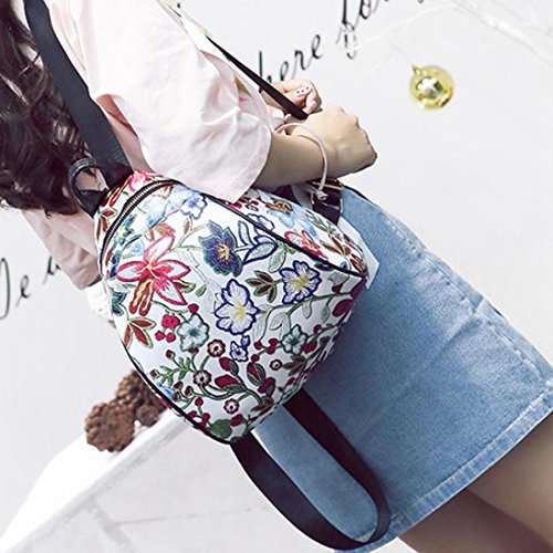 Women Flower Schoolbag Backpack Embroidery Bags Allywit Canvas Ethnic Vintage Pink Travel qwgUUfTX