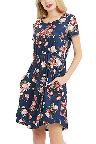 NICIAS Women Floral Short Sleeve Tunic Vintage Midi Casual Dress with Pockets Navy XL ()