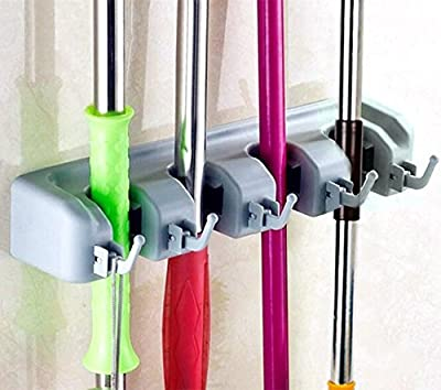 CFStore Non Slide Broom and Mop Holder, 4 Position with 5 Hooks Garage Storage Systems Rack Organizer, wall Mounted Garden Tool Storage, Sports Equipment Holder (4-Position, BH-02)