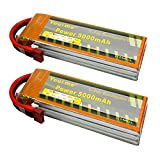 Youme 2 Packs 5000mAh 11.1V 3S Lipo Battery Pack 50C Max 100C Deans T Plug Connector for RC Helicopter - RC Car - Multirotor - RC Drone - RC Boat - RC Truck(6.1x1.9x0.94inch - 0.83lb)
