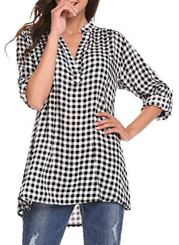 Oyamiki Women's Long Sleeve Check Shirt Flannel Plaid Tunic Blouse Black White XL -