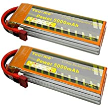 youme 2paquetes 5000mAh 11.1V 3S Lipo batería Pack 50C MAX 100C Decanos T Plug Conector para RC Helicóptero, RC coche, Multirotor, RC Drone, RC Barco, RC Truck (6,02X 1.89x 1,02in, 0.89lb)