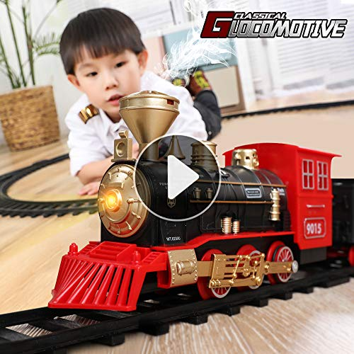 TEMI Electronic Classic Railway Train Sets w/ Steam Locomotive Engine, Cargo Car and Tracks, Battery Operated Play Set Toy w/ Smoke, Light & Sounds, Perfect for Kids, Boys & Girls, Red (Train On Track Christmas Tree)