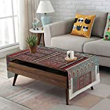 Brass Drum Coffee Table iPrint Linen Blend Tablecloth,Side Pocket Design,Rectangular Coffee Table Pad,Moroccan Decor,A Magnificent Moroccan Traditional Ancient Door Gate Brass Historic Handicraft,for Home Decor