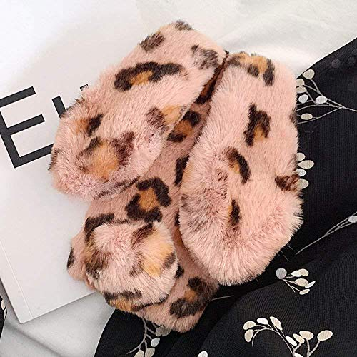 for iPhone Xr Soft Rabbit Leopard Print Case, Luxury Cute Bunny Ears Soft TPU Case with Bling Diamond Silicone Case Fluffy Winter Protective Back Bumper Chic Plush Case Cover-Pink