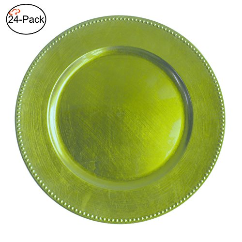 Tiger Chef 13-inch Lime Round Beaded Charger Plates, Set of 2,4,6, 12 or 24 Dinner Chargers (24-Pack) Green Service Plate