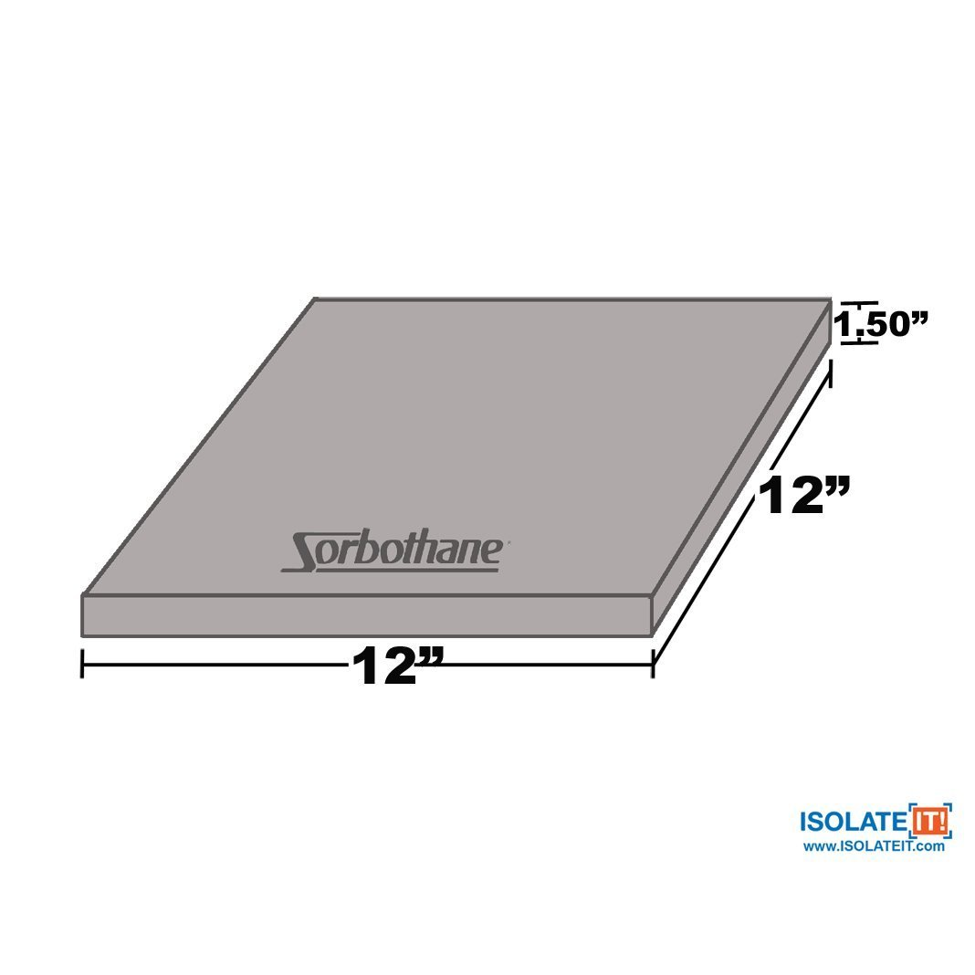 30.5cm 3.81cm Sorbothane Vibration Damping Sheet Stock 30 Duro 1.5 30.5cm x 12in x 12in