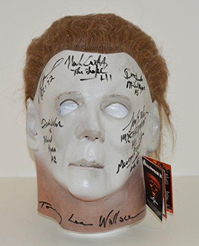 HALLOWEEN Michael Myers MASK signed by all the Actors who played The Shape in Halloween I, II, IV, V and VI Nick Castle, Tony Moran, Dick Warlock, Don Shanks, George P Wilbur, Tommy Lee Wallace and Tyler Mane who played in Rob Zombie's 1 and 2 - ADULT Mask (Authentic with (Halloween Movie Props)