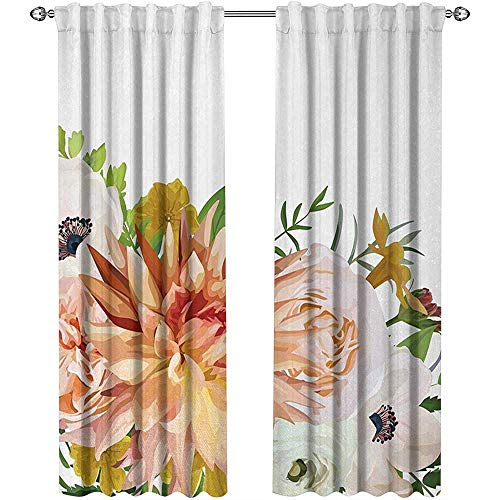 (Returiy Anemone Flower, Window Treatments Curtains Valance, Garden Rose Dahlia Forest Meadow Bedding Plants Leaves Mix, Curtains for Doors with Windows, W72 x L108 Inch, Salmon Fern Green Khaki)