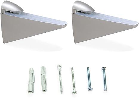 Emuca 4009225 Lote de 2 soportes mod. Halcon para estante de madera o cristal de espesor 8-40mm acabado pintado aluminio: Amazon.es: Bricolaje y herramientas