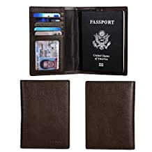 Banuce Canadian Cowhide Leather Travel Passport Holder Case Cover Wallet(Dark Coffee)
