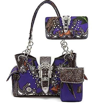 Western Buckle Camouflage Shoulder Bag Purse Women Concealed Carry Handbag Wallet Set (Brown)