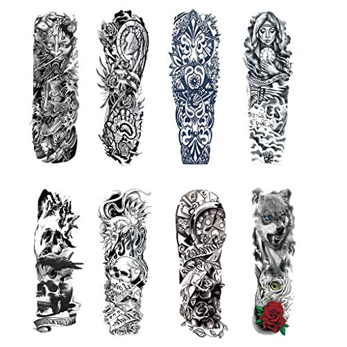 Finedayqi Ship from US Temporary Tattoo Sleeves 8 Sheets Large Fake Black Full Arm Tattoo Stickers