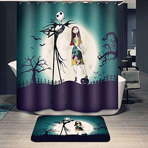 Youni Jack Skellington Shower Curtain Set with Bathroom Rug Pack of 2 Nightmare Before Christmas Jack 100% Microfiber Polyester with 12 Hooks,72Inch Blue (Stuff All Christmas)