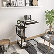 HomeSailing Small C-Shaped Mobile Cart Table Sofa Couch Bed Table on Wheels Side Table Coffee Tea Snack Table Living Room Bedroom End Table